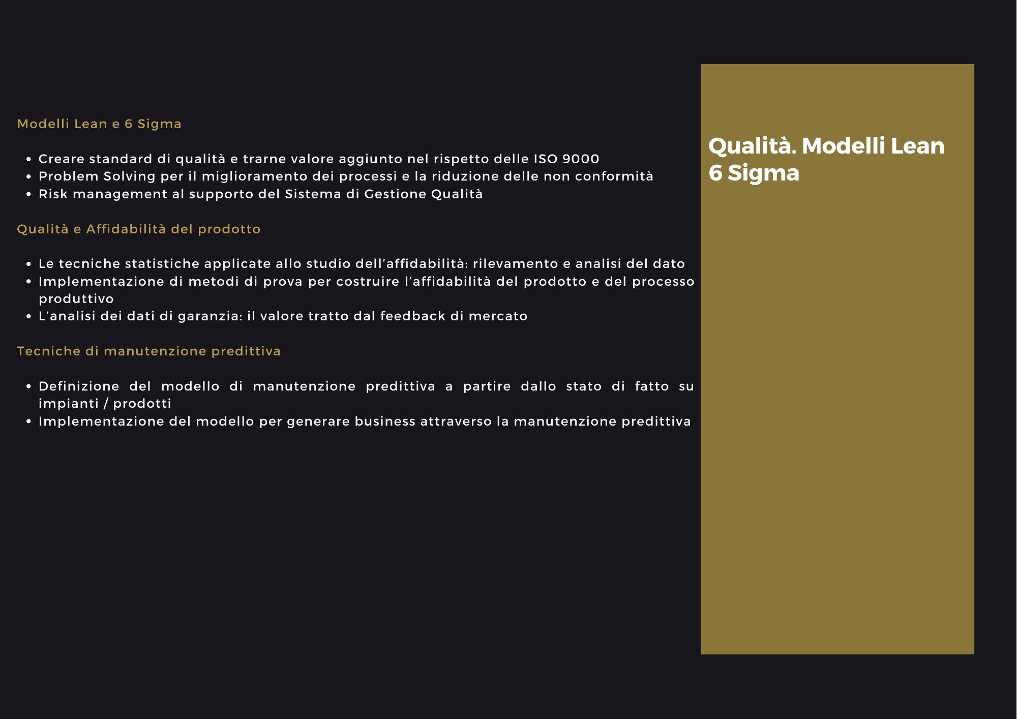Qualità modelli lean e 6 sigma