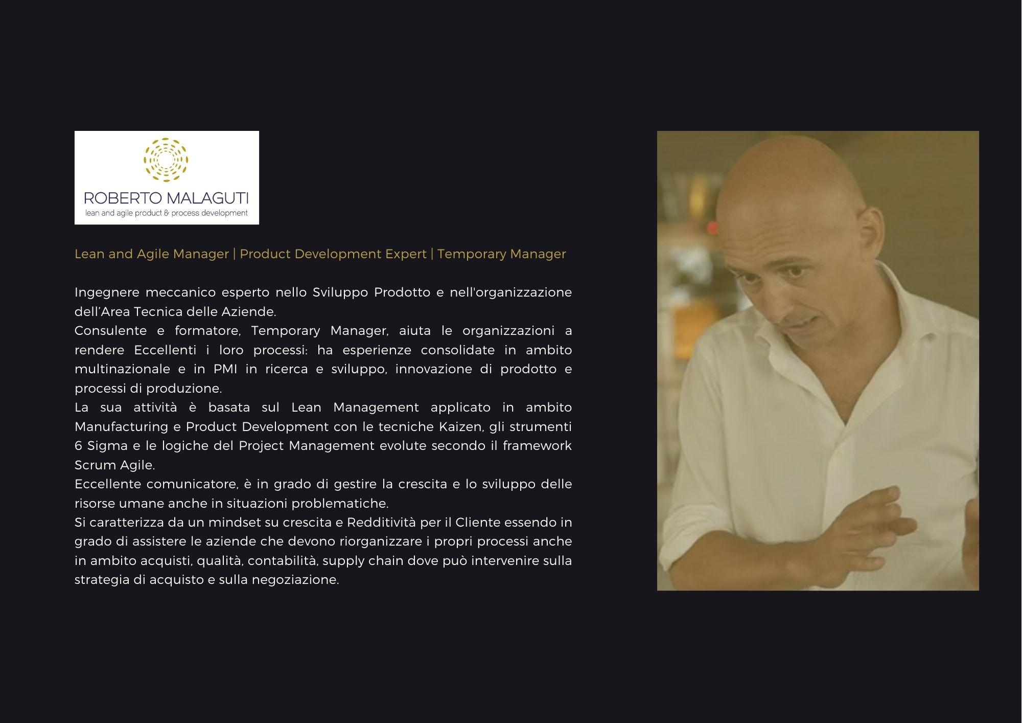 Roberto Malaguti, lean management & agile manufactoring