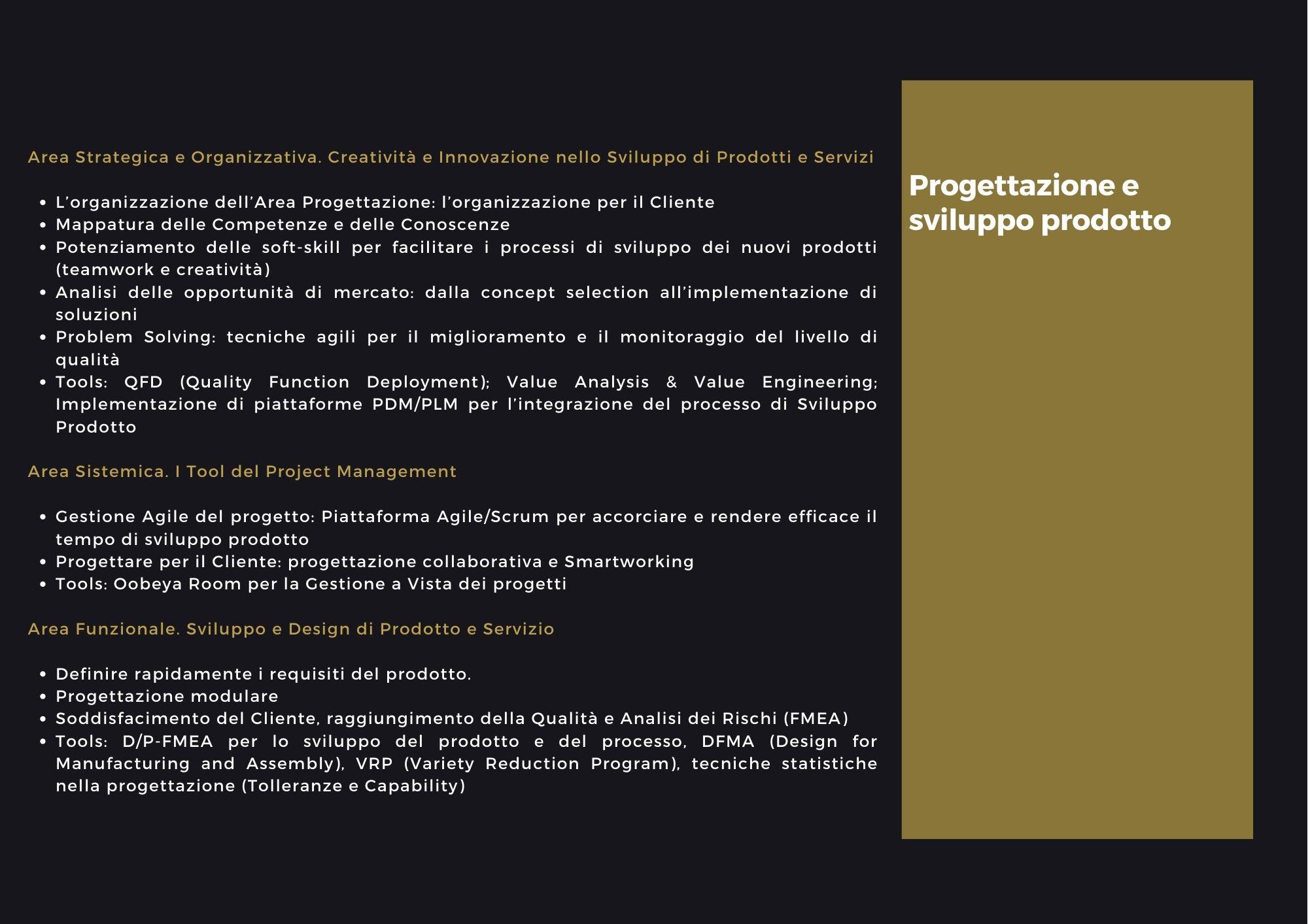 Progettazione e sviluppo prodotto